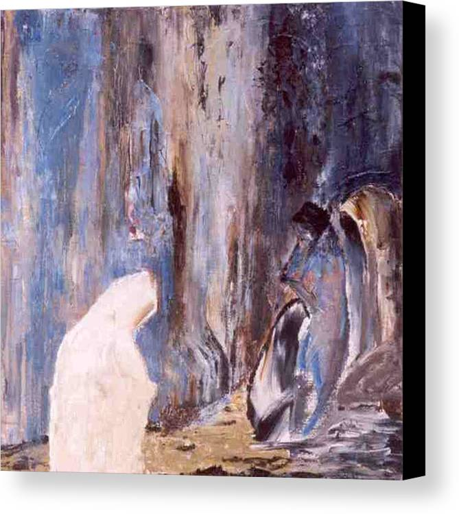 Wall Canvas Print featuring the painting Women At The Wall by Bruce Combs - REACH BEYOND