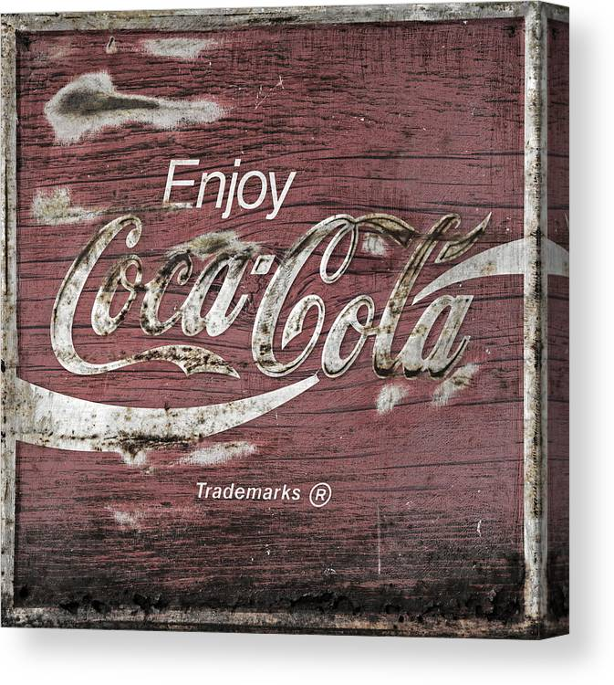 Coca Cola Canvas Print featuring the photograph Coca Cola Pink Grunge Sign by John Stephens