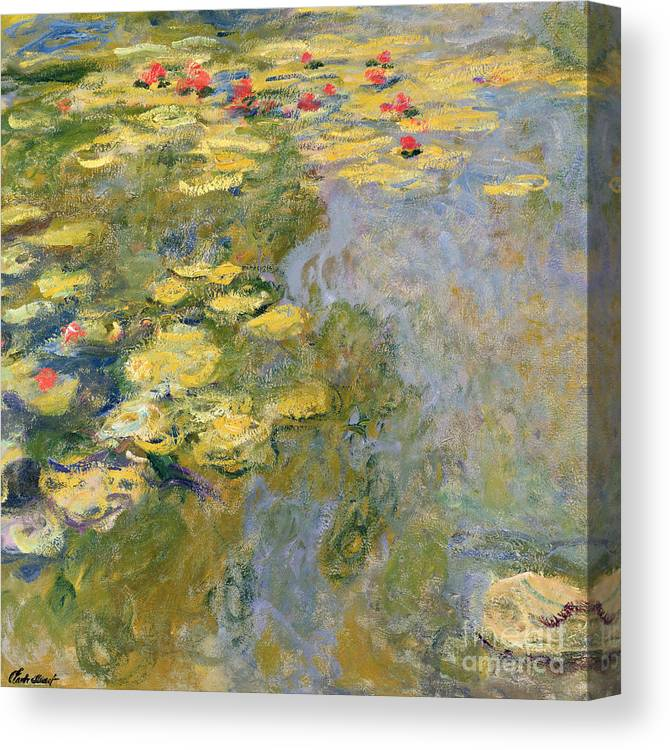 Impressionist Canvas Print featuring the painting The Waterlily Pond by Claude Monet