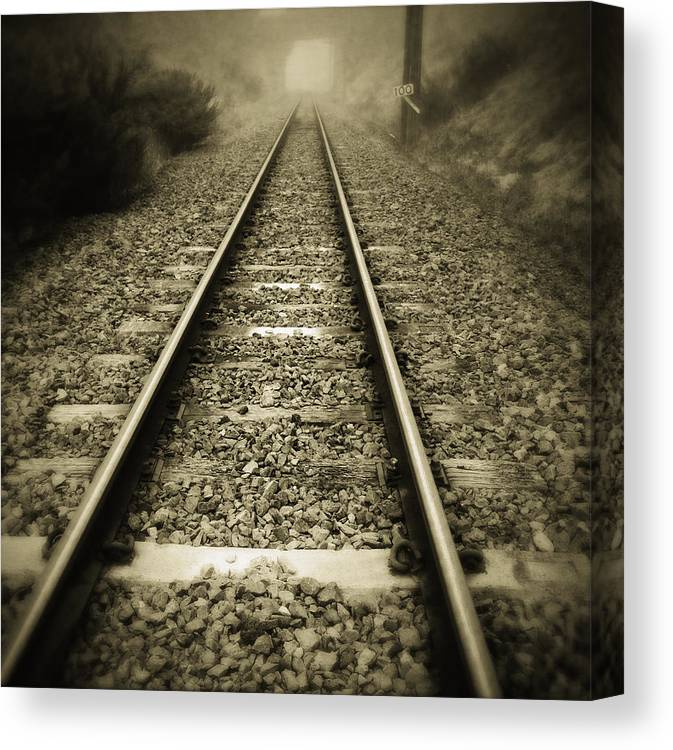Industry Canvas Print featuring the photograph Railway Tracks by Les Cunliffe