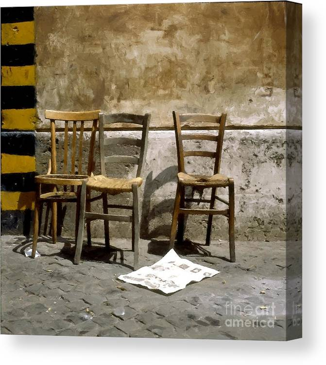 Chairs Canvas Print featuring the photograph 3 Sedie Pennellate by Giuseppe Cocco