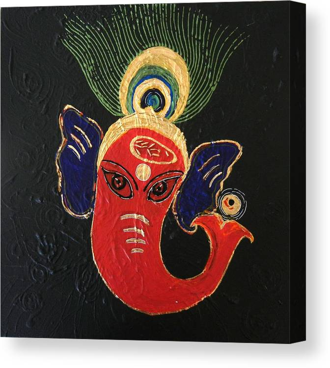 Ganesha Canvas Print featuring the painting 34 Ganadhakshya Ganesha by Kruti Shah