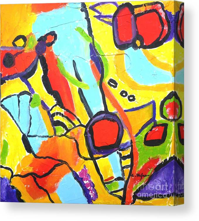 Abstract Canvas Print featuring the painting Birds On A Wire by Cristina Stefan