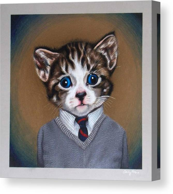 Kitten Canvas Print featuring the drawing Business Casual Kitten by Emily Frew