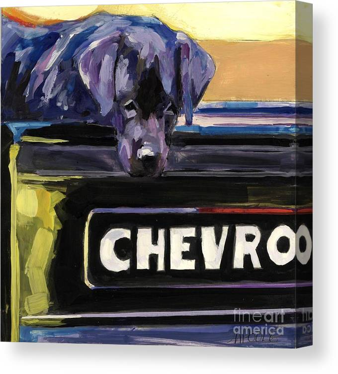 Black Lab Canvas Print featuring the painting Fifty One by Molly Poole