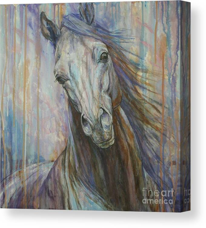 9218b18ec66 Horse Canvas Print featuring the painting Tempest by Silvana Gabudean Dobre