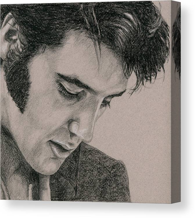 Elvis Canvas Print featuring the drawing The Cool King by Rob De Vries