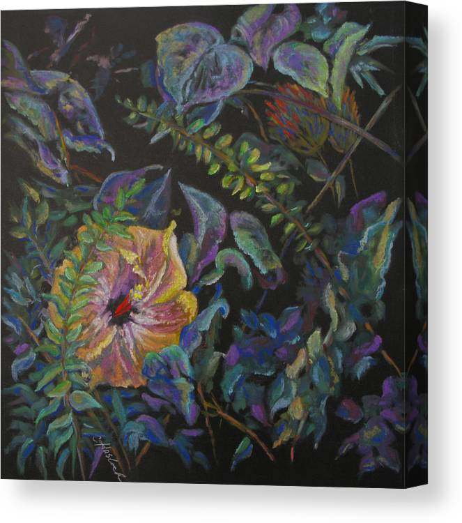 Floral Canvas Print featuring the pastel Enchanted by Carole Haslock