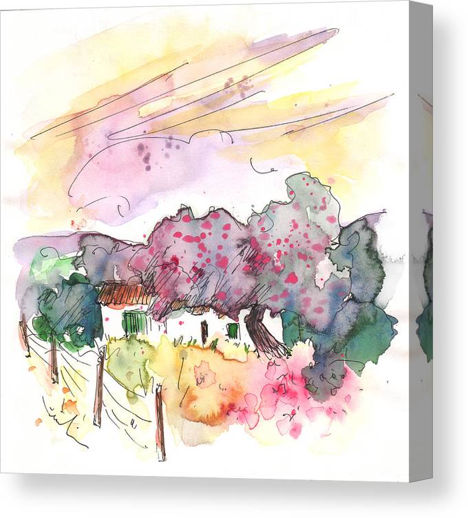 Travel Canvas Print featuring the painting Fuente Obejuna 01 by Miki De Goodaboom