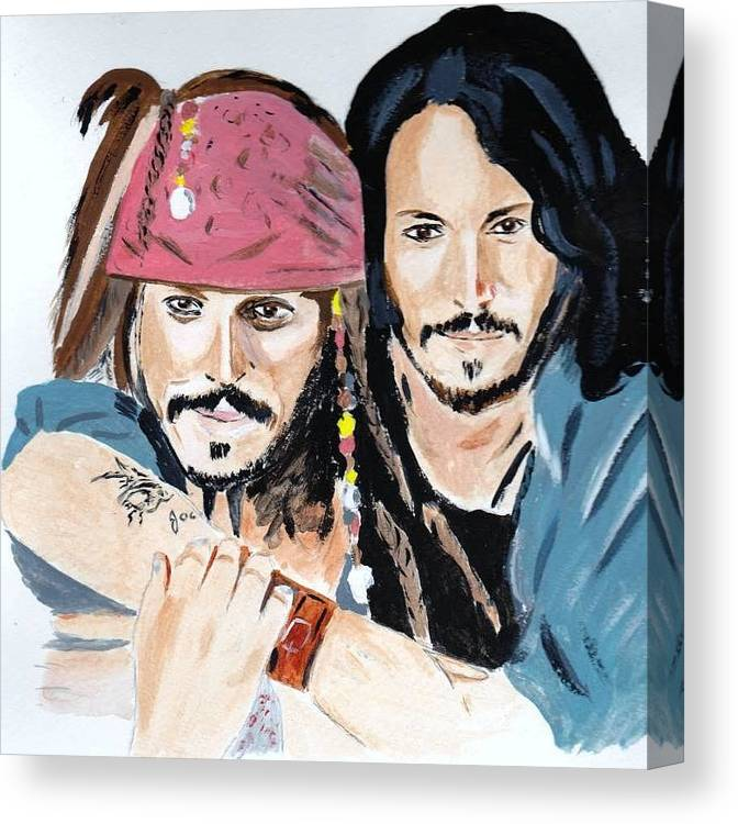 Johnny Depp And Captain Jack Famous Filmstar People Acrylic Paper Canvas Print featuring the painting Johnny Depp X 2 by Audrey Pollitt