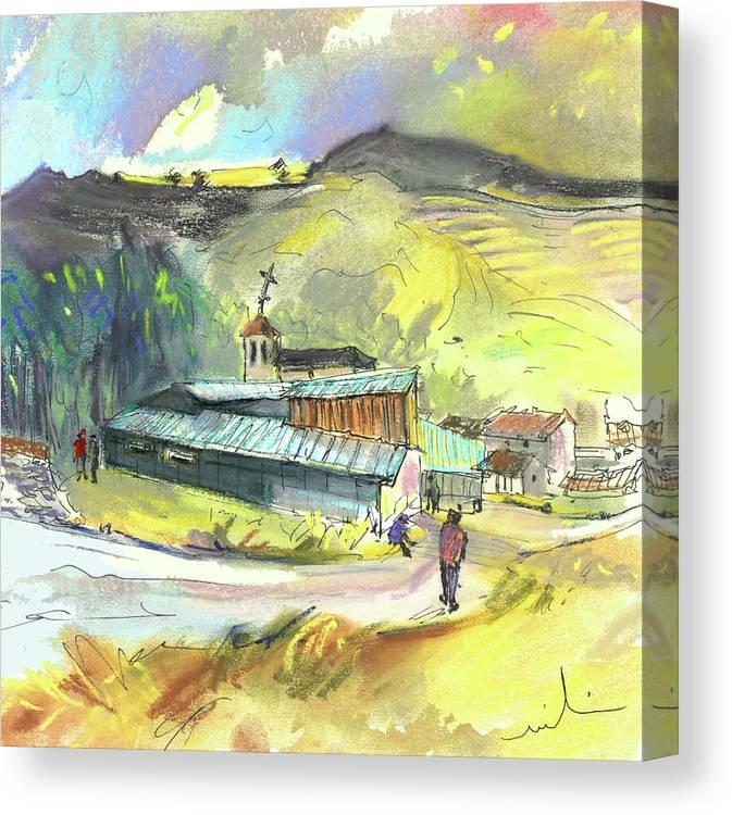 Spain Canvas Print featuring the painting Los Olmos De Penafiel In Spain 01 by Miki De Goodaboom