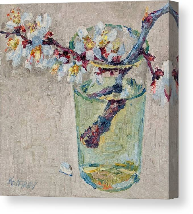 Blossoming Canvas Print featuring the painting Blossoming Branch In A Glass by Vitali Komarov