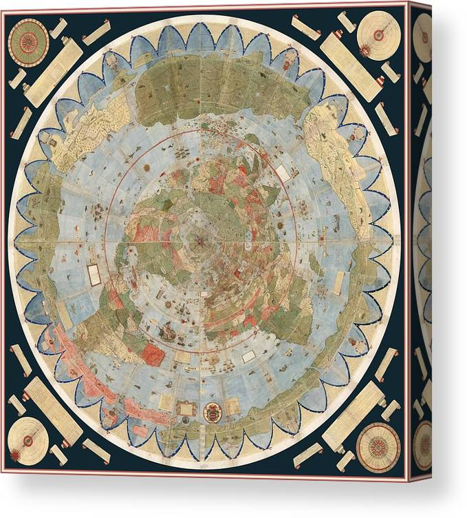 Antique Maps - Old Cartographic Maps - Flat Earth Map - Map Of The ...