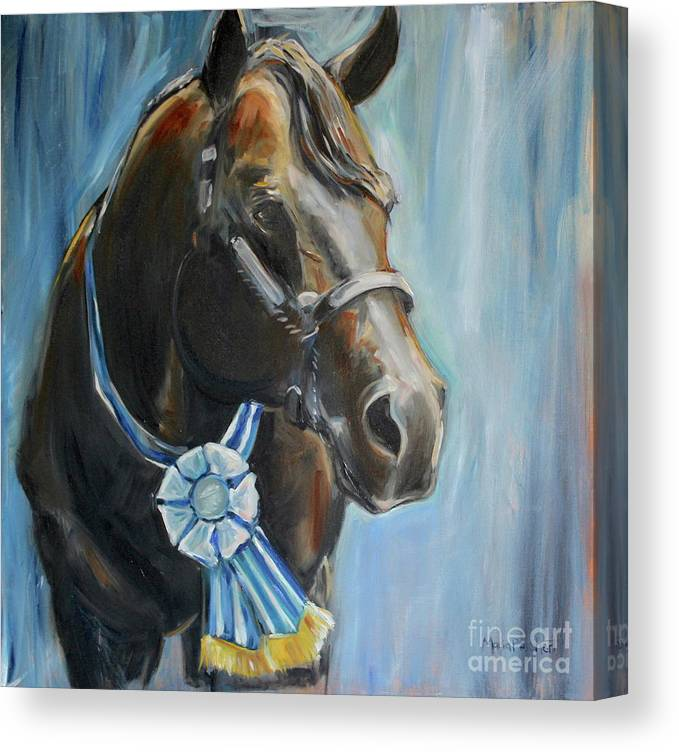 Black Horse Canvas Print featuring the painting Black Horse Blue Ribbon by Maria Reichert