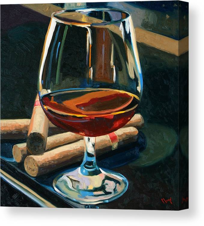 Hampden-sydney College Canvas Print featuring the painting Cigars And Brandy by Christopher Mize