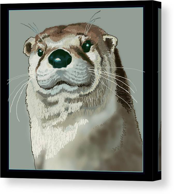 Nature Canvas Print featuring the digital art Curious Otter by Jey Manokaran
