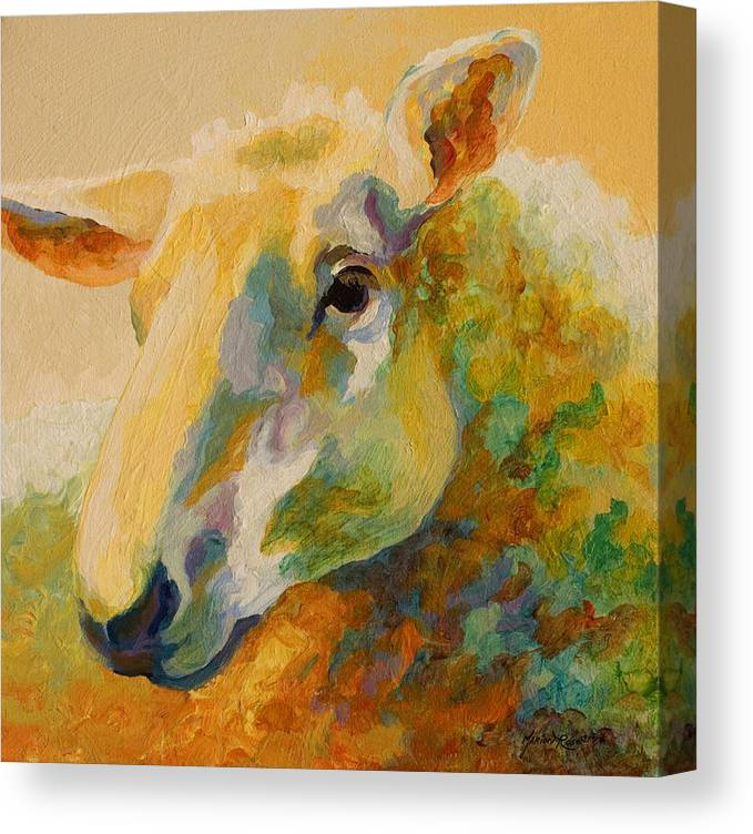 Llama Canvas Print featuring the painting Ewe Portrait IIi by Marion Rose