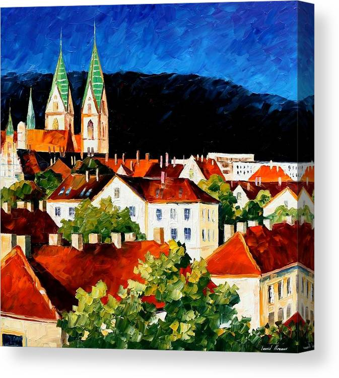 Afremov Canvas Print featuring the painting Germany Freiburg by Leonid Afremov