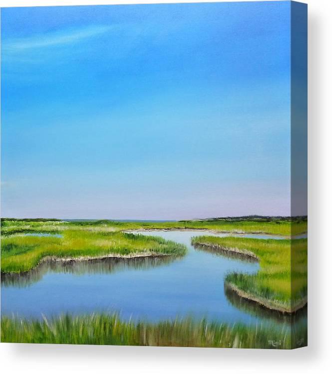 Great Sippewissett Marsh Canvas Print featuring the painting Great Sippewisset Marsh by Mimi Schlichter