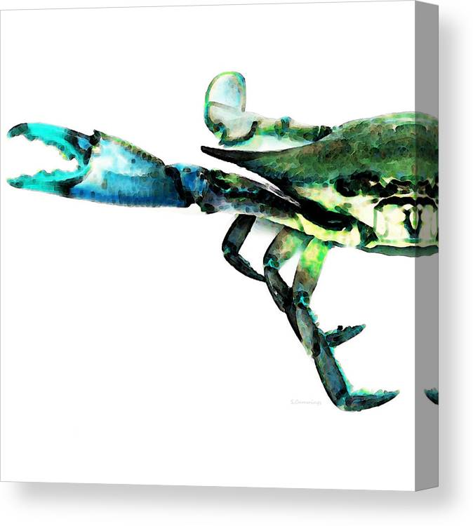 Crab Canvas Print featuring the painting Half Crab - The Left Side by Sharon Cummings