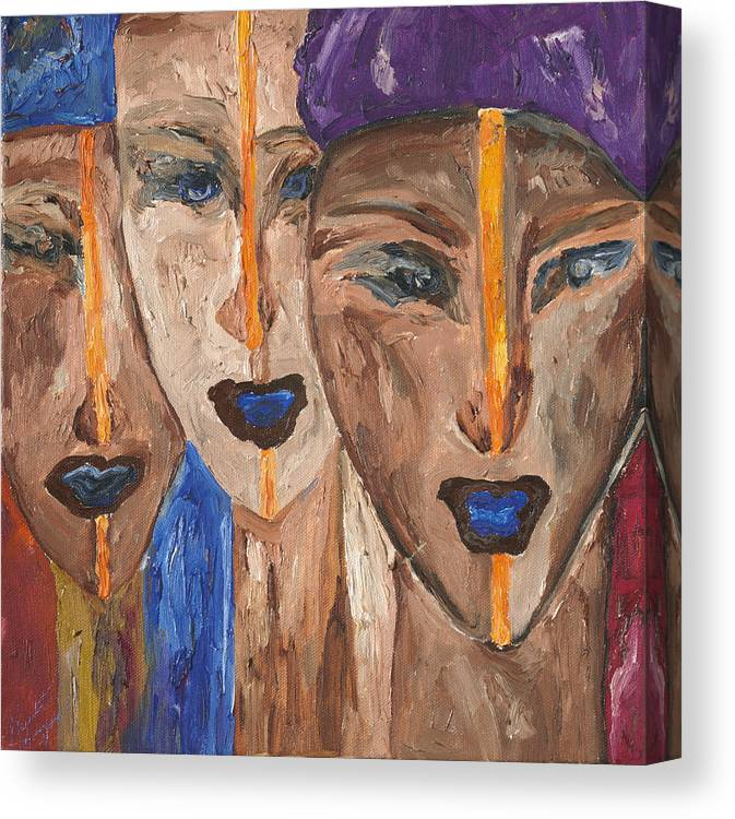 African-american Art Canvas Print featuring the painting Les Visages II by Bernadette Robertson