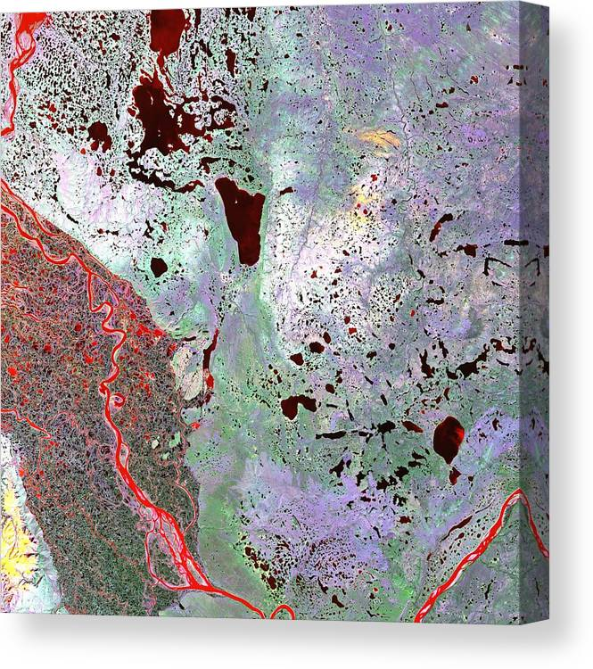 Canada Canvas Print featuring the photograph North Of Canada From Space by Leonardo Sandon