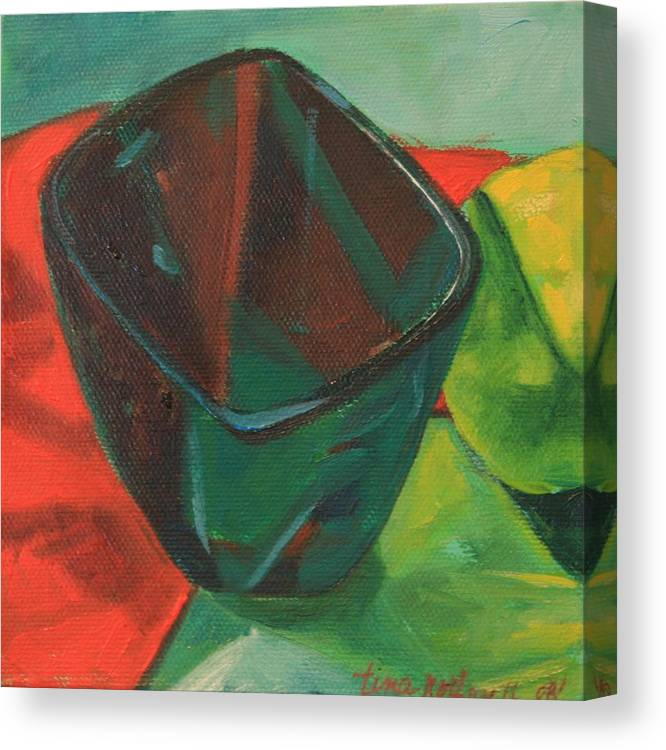 Green Canvas Print featuring the painting Not My Mamas Cup by Tina Marie Rothwell