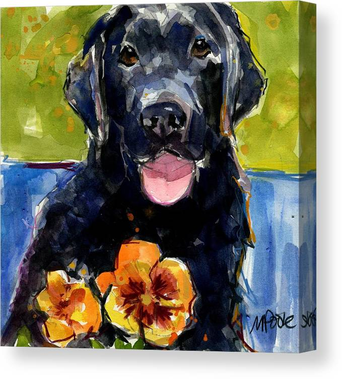 Black Lab Puppy Canvas Print featuring the painting Pansies by Molly Poole