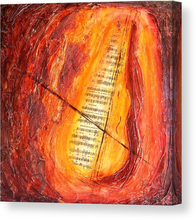 Music Canvas Print featuring the painting Poesial Visual by Ivan Guaderrama
