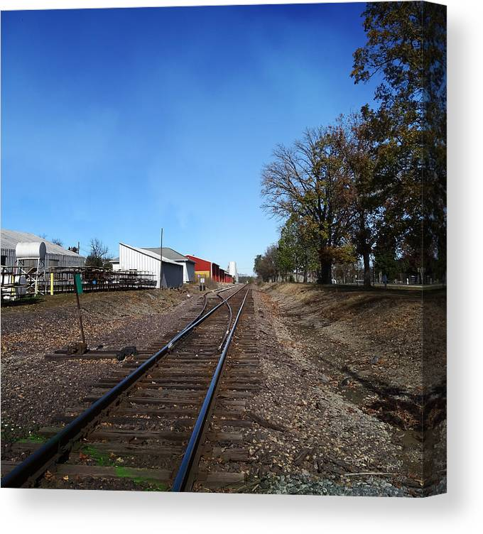 Illinois Canvas Print featuring the photograph Railroad Tracks Switch Station by Theresa Campbell