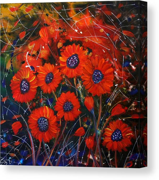 Flowers Canvas Print featuring the painting Red Flowers In The Night by Luiza Vizoli