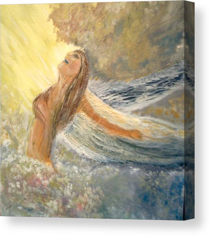 She Reaches The Top Throws Back Her Wings And Sings Canvas Print featuring the painting Storm Song by J Bauer