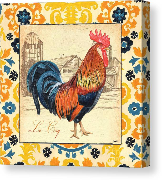 Rooster Canvas Print featuring the painting Suzani Rooster 2 by Debbie DeWitt