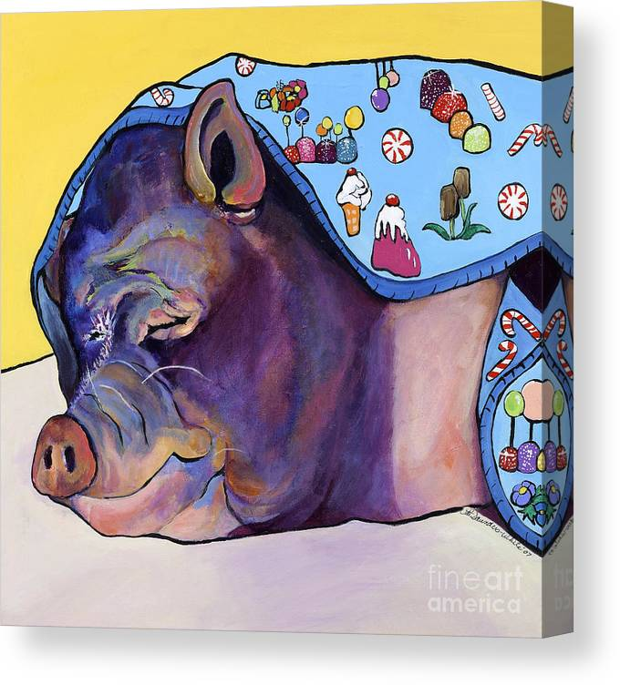 Farm Animal Canvas Print featuring the painting Sweet Dreams by Pat Saunders-White