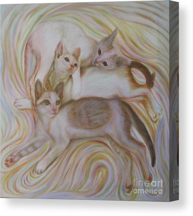 Cat Canvas Print featuring the painting The Brothers by Sukalya Chearanantana