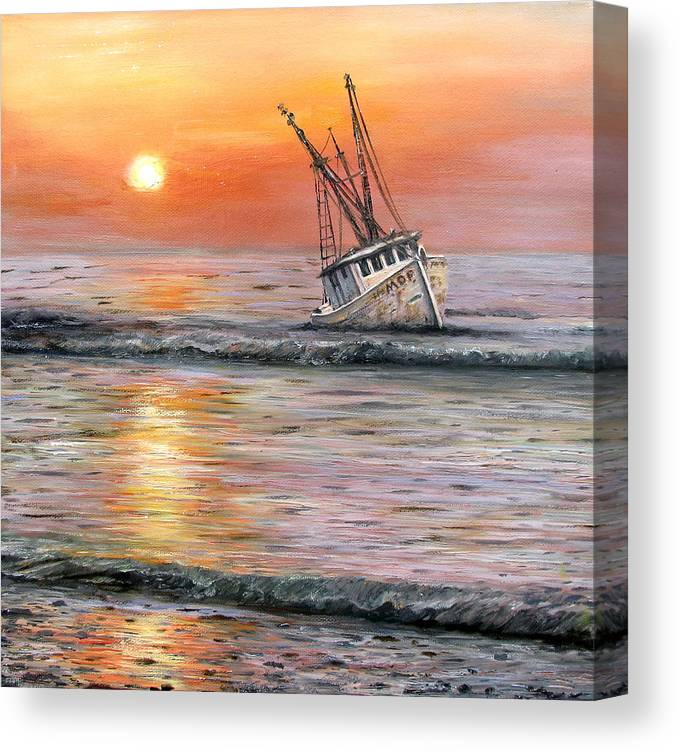 Oil Spill Canvas Print featuring the painting The Mop by Judy Merrell