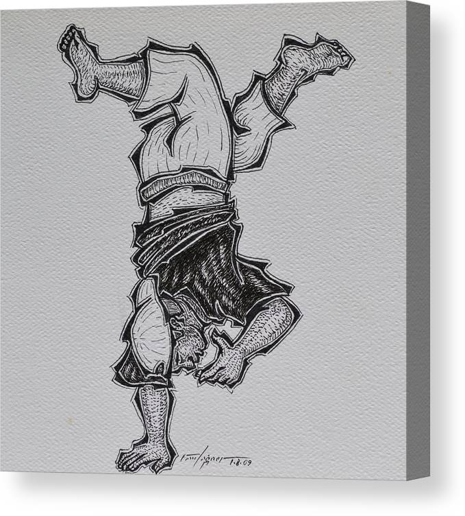 Acrobat Canvas Print featuring the drawing Upside Down by Raul Agner