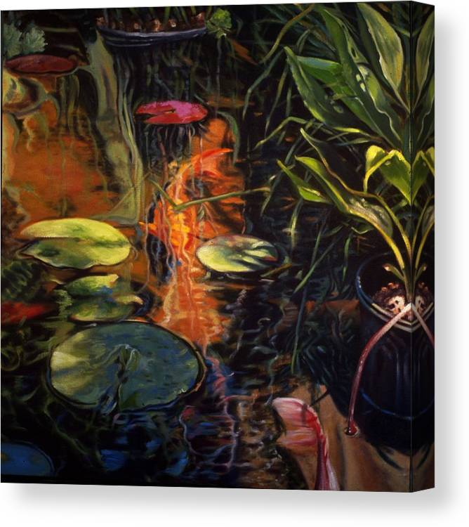 Water Garden Canvas Print featuring the painting Water Garden Series A by Patricia Reed