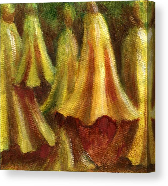 Oil Painting Canvas Print featuring the painting Yellow Trumpet Flowers by Patricia Halstead