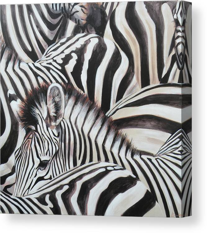 Canvas Print featuring the painting Zebra Triptyche Middle by Leigh Banks