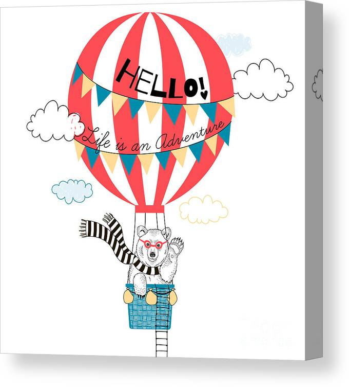 Fancy Canvas Print featuring the digital art Bear Flying In Air Balloon, Animal by Olga angelloz