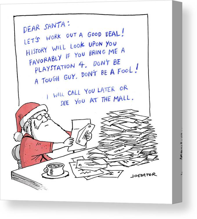 Captionless Canvas Print featuring the drawing Dear Santa by Joe Dator