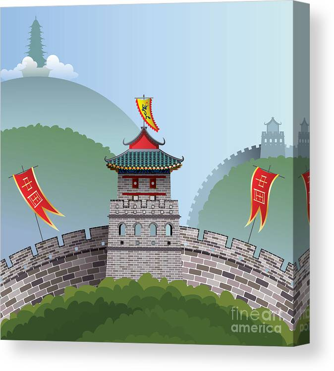Illustrations Canvas Print featuring the digital art Great Wall Of China by Nikola Knezevic