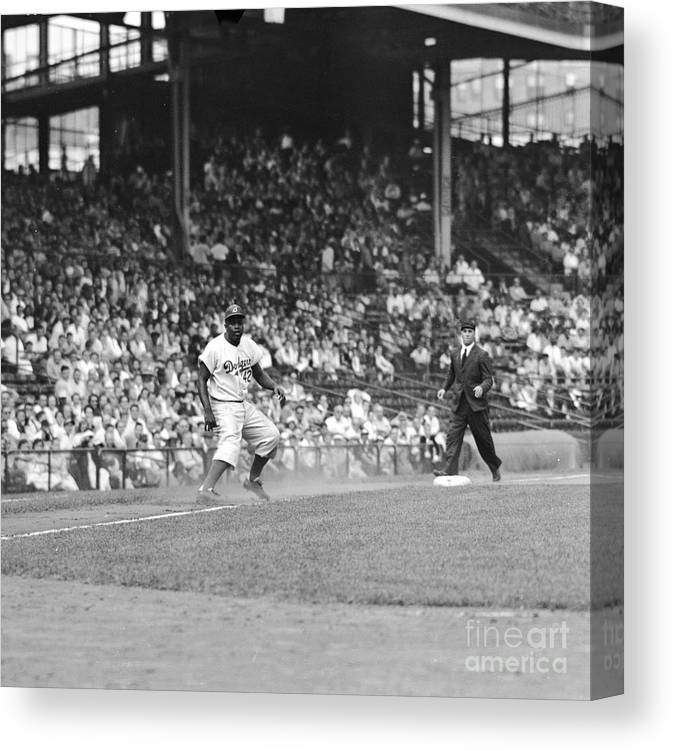 1950-1959 Canvas Print featuring the photograph Jackie Robinson At Ebbets Field, 1956 by Robert Riger