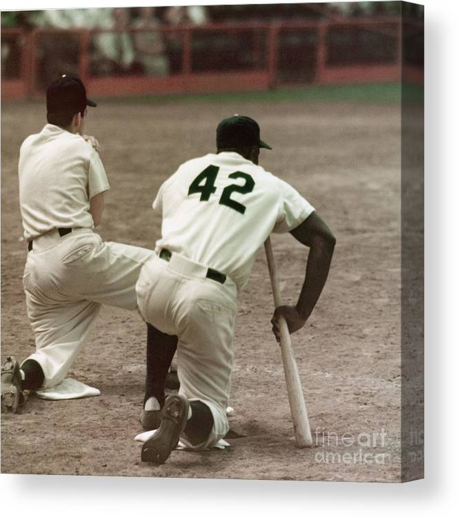 1950-1959 Canvas Print featuring the photograph Jackie Robinson On Deck by Robert Riger