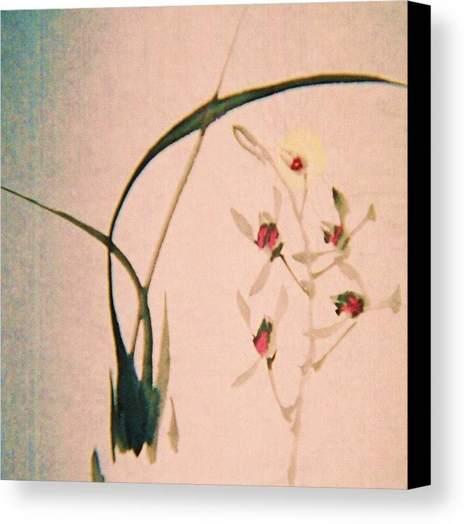 Asian Ink Brush Canvas Print featuring the painting Grass And Buds by JuneFelicia Bennett