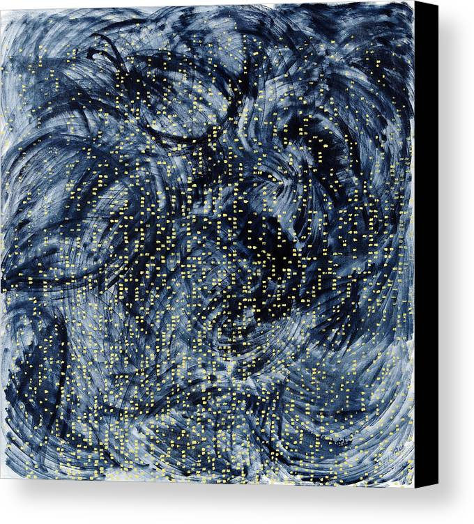 Painting Black Pattern Yellow Square White Grey Swirls Canvas Print featuring the painting Into The Universe by Joan De Bot