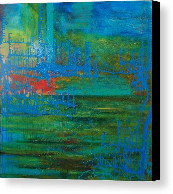 Contemporary Sea Lanscape Canvas Print featuring the print Sea Ligthts by Meltem Quinlan