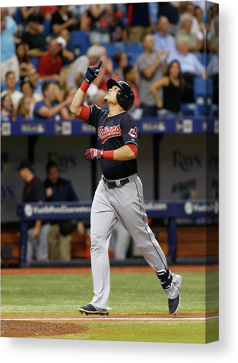 Following Canvas Print featuring the photograph Cleveland Indians V Tampa Bay Rays by Brian Blanco