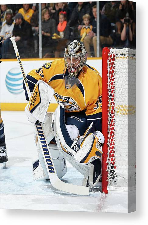 People Canvas Print featuring the photograph New Jersey Devils V Nashville Predators by John Russell